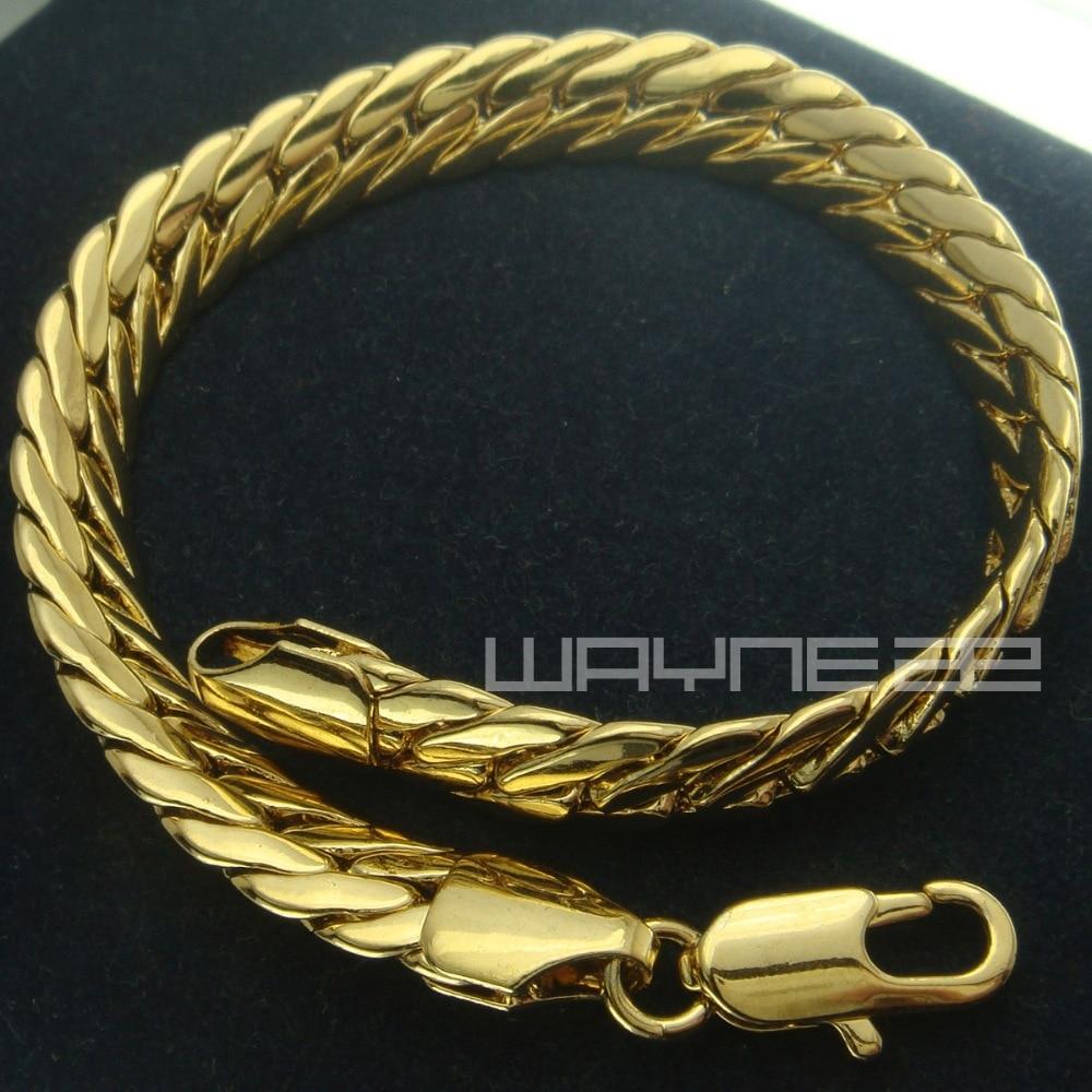 Mens Womens Yellow Gold Gf Snake Chain Solid Bracelet Bangle B151