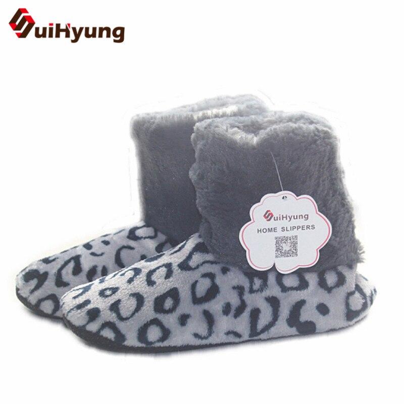 Winter Women's Indoor shoes Leopard Pattern Home Shoes Soft Bottom Non-slip Floor Slipper Thick Plush Warm Indoor Cotton Shose цена