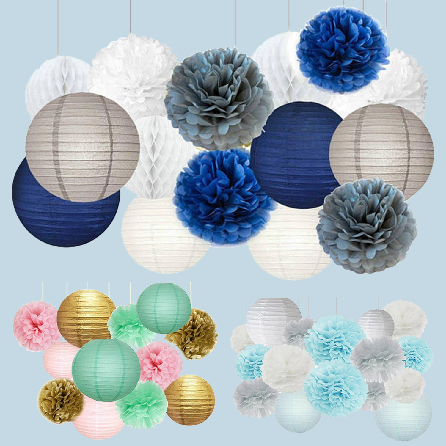 Home Store Wedding Festival Party Round Flower Shape Paper Lanterns Hanging DIY Craft Decorations Set