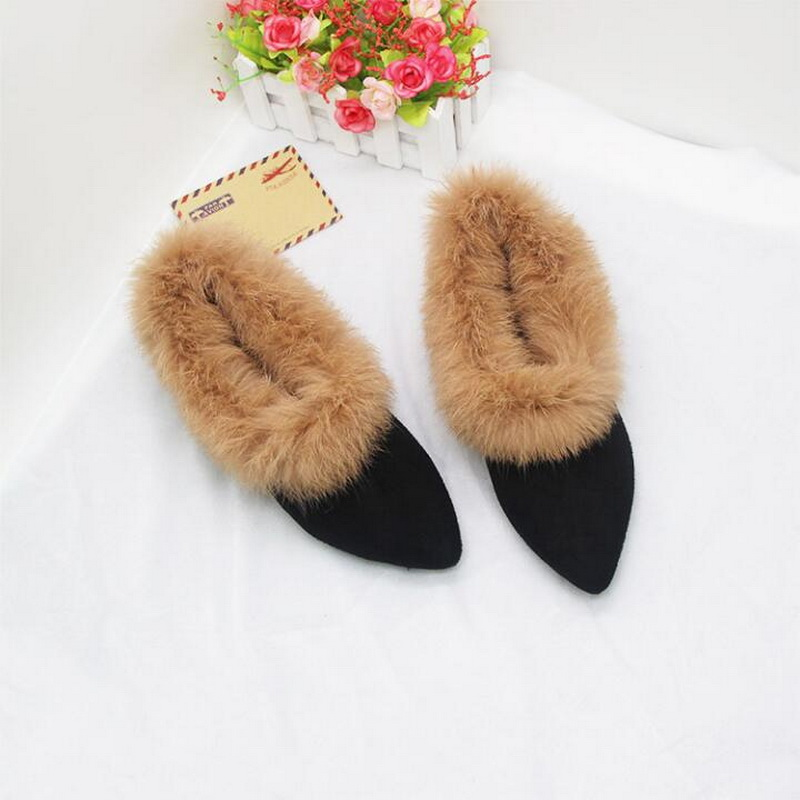 2018 осенне зимняя обувь на плоской подошве с острым кроличьим мехом, бархатная теплая хлопковая обувь, маленький размер 31 32 33, большой размер 41 43|Обувь без каблука|   | АлиЭкспресс