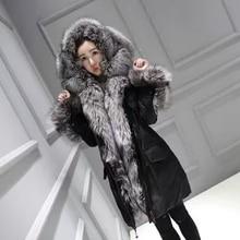 2016 New Fashion silver Fox Fur Collar tirm Hoody middle long Down coat Jacket Slim Long Outerwear Coat For Women Winter black