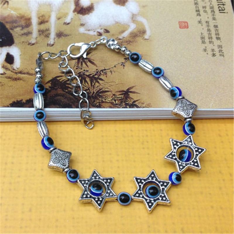 Women's Retro Silver Blue Eye Beads Stars Charms Bracelet Fine Jewelry For Women
