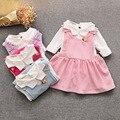 2017 del otoño del resorte del bebé dress girl dress princess dress algodón de los niños t-shirt + correa de dress 2 unids de los niños envío gratis