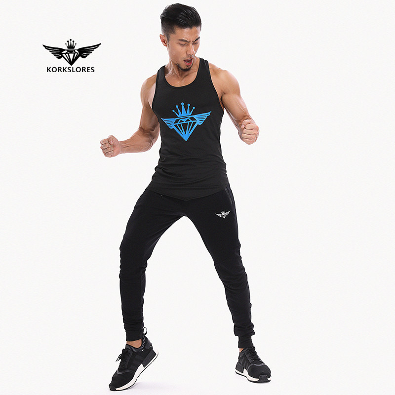 KORKSLORES 2017 New Brand Summer Style Men's Muscle Fitness   Tank     Top   Gold Stringer Singlet Crime Male Bodybuilding   Tanks   Vest