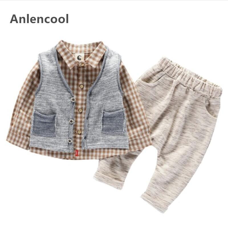 Anlencool Spring childrens wear boys suit button vest plaid shirt color cotton pants three-piece set of 0-4 years baby clothing 2017 new cartoon pants brand baby cotton embroider pants baby trousers kid wear baby fashion models spring and autumn 0 4 years