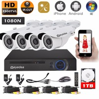 Eyedea 8CH 1080N HDMI DVR Recorder 3500TVL 960P CMOS IR Cut 36 LED Night Vision Outdoor