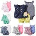 2017 Quente Do Bebê menina Conjunto de Roupas de Bebê bebê roupas de algodão floral estilo macacão Meninas verão Define 3 peças/set = 1 conjunto + 1 romper