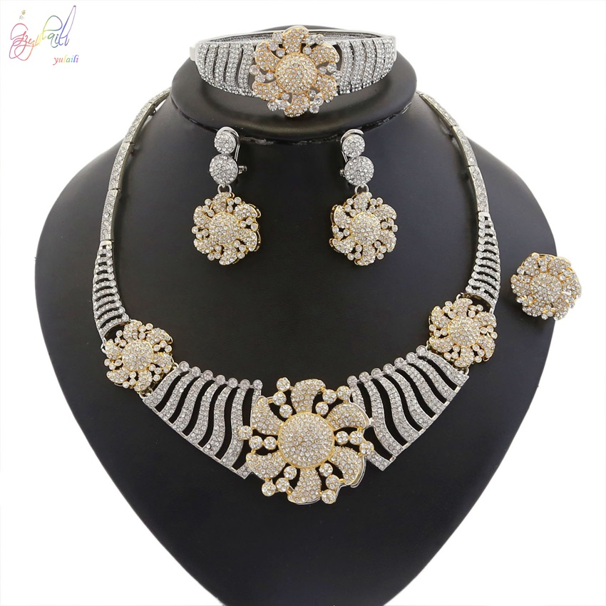 YULAILI Flower Zircon Jewelry Set Two Tone Color for Women Necklace/Bracelets/Earrings/Ring Accessories spanish two tone double potentiometer 10k 50k