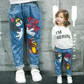 2017 New arrival Spring Girls Jeans With Tom and Jerry Casual Pants for Girl Free shipping High quality