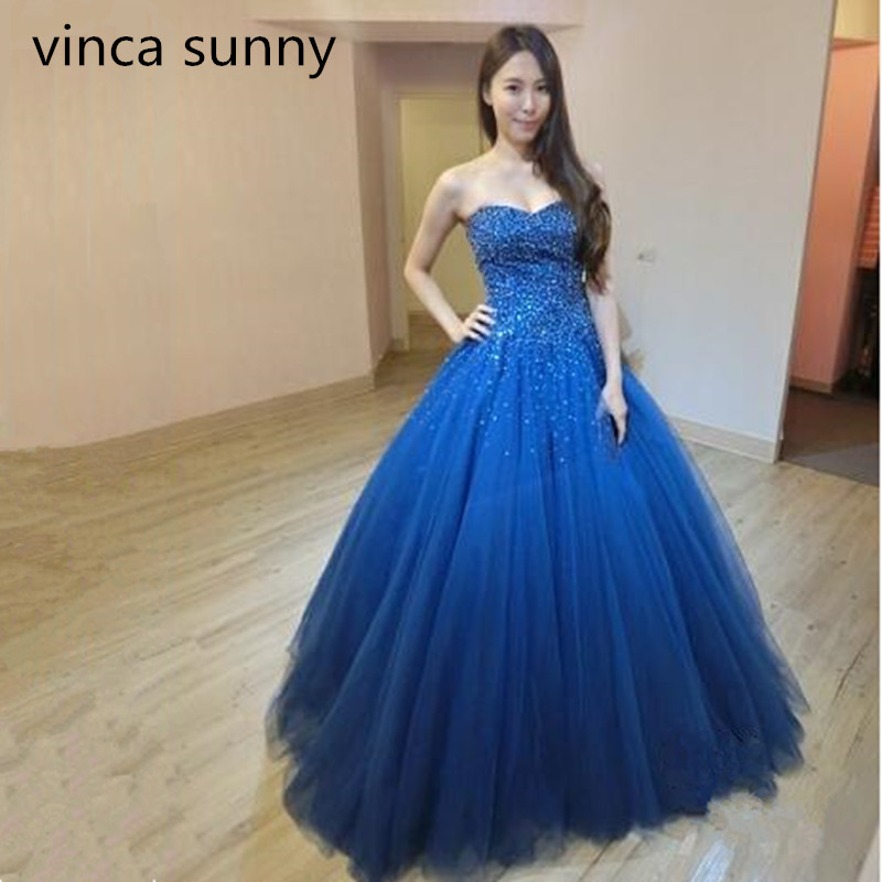 Vinca Sunny 2019 New Arrival Sexy Long   Prom     Dresses   Luxury Beaded Sleeveless Tulle Formal Evening   Dress   Party Gown Custom