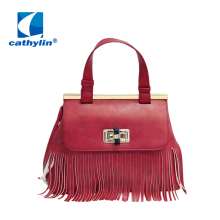 Cathylin Popular New Women Handbag Tassel Cross Body Bag Solid Color Zipper Shoulder Bags PU Leather Handbags for female