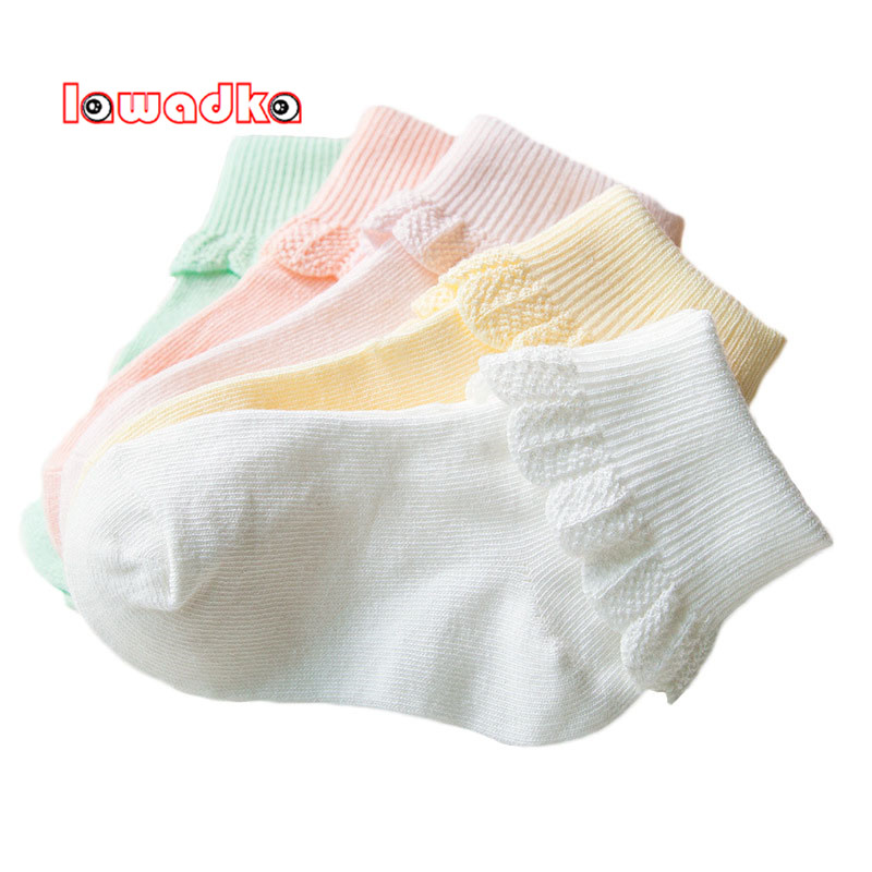 Lawadka 10 Pieces/lot=5Pairs Cotton Kids Socks Fashion Sport Short Socks Baby Girls Socks