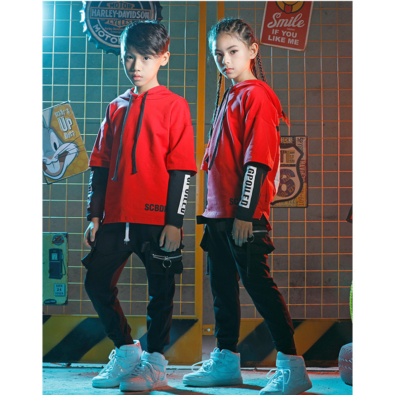 Children Boys Hip Hop Costume Sets Jazz Dance Street Dance Clothes Girls Loose Long Sleeve Stage Halloween Party Clothing
