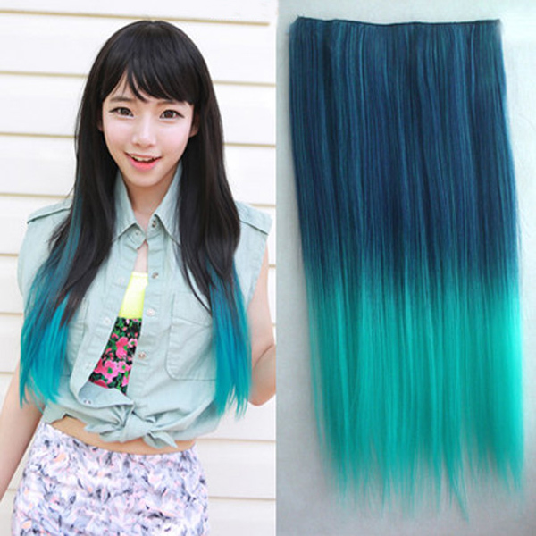 Choose from 9 colour 24 straight synthetic hair piece ombre style choose from 9 colour 24 straight synthetic hair piece ombre style dip dye clip in hair extensions on aliexpress alibaba group pmusecretfo Gallery