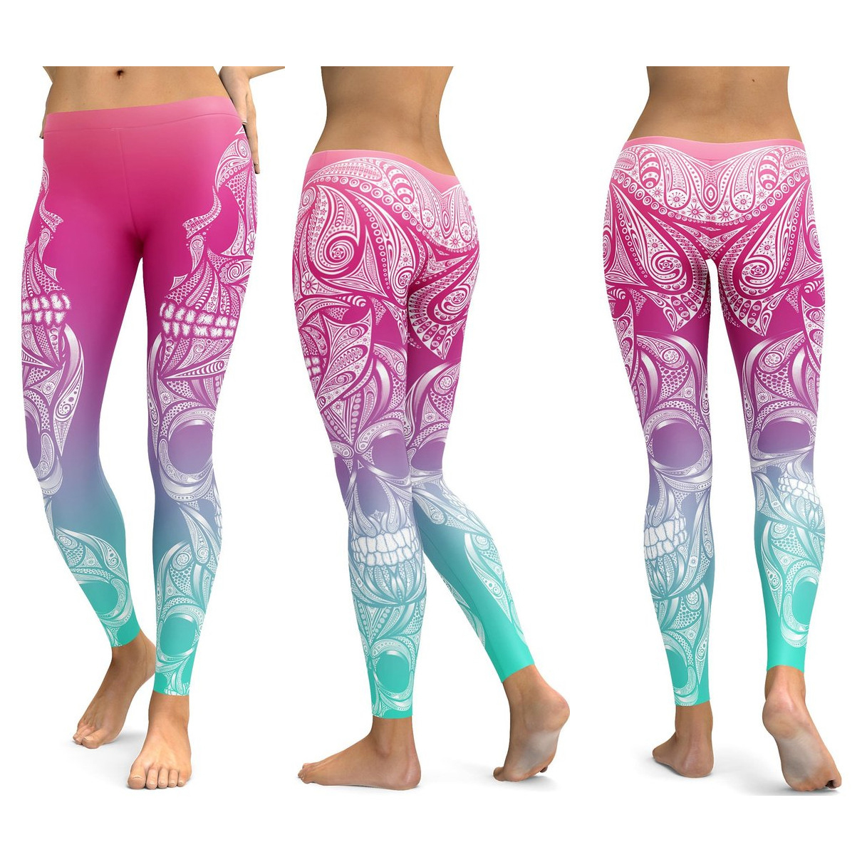 Skull Leggings Yoga Pants Women Sports Pants Fitness Running Sexy Push Up Gym Wear Elastic Slim Workout Leggings 32