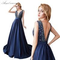 Ангел женат жемчуг вечерние платья низкая v образным вырезом синий длинные платья для выпускного бала Новый спинки для женщин официальная В