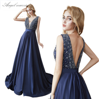 Angel married pearls Evening Dresses low v neck navy blue prom gown long backless women formal party dress vestido de festa 2019