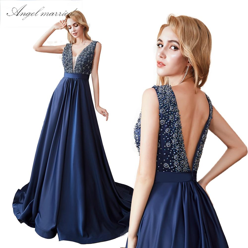 8cfb277f97fec US $113.05 |pearls Evening Dresses low v neck navy blue prom gown long  backless women formal party reflective dress vestido de festa 2019-in  Evening ...