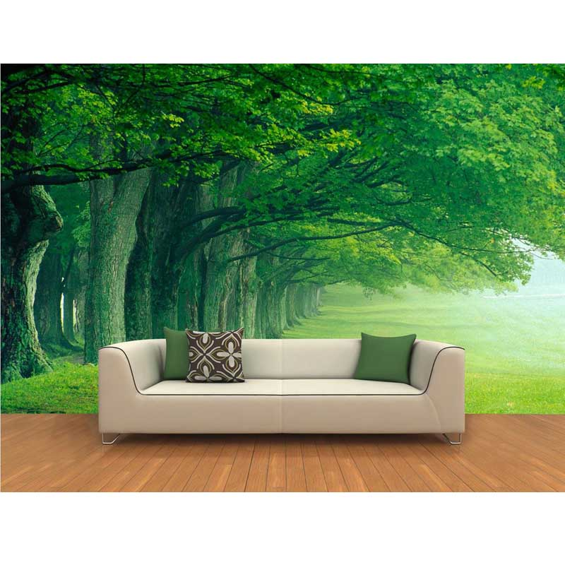 Green trees wallpaper home decor european large murals for Wallpaper decor