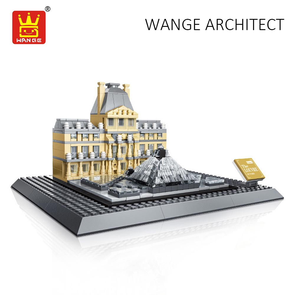 WANGE Architecture Block Louvre Museum Paris France Building Blocks City Diy Toys for Children Compatible Bricks Educational Kid hot sembo block compatible lepin architecture city building blocks led light bricks apple flagship store toys for children gift