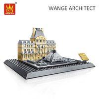 WANGE Architecture Block Louvre Museum Paris France Building Blocks City Diy Toys For Children Compatible Bricks