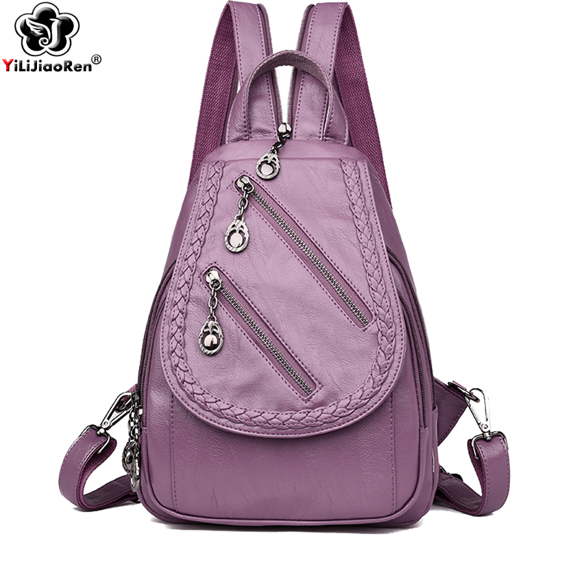 Fashion Zipper Backpack for Women Luxury Brand Women Leather Backpack Large Capacity Back Bags for Women 2019 Mochila Feminina in Backpacks from Luggage Bags