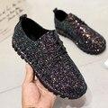 Мода блестка 2016 осень обувь одного моды плоские шнуровкой случайные женская обувь
