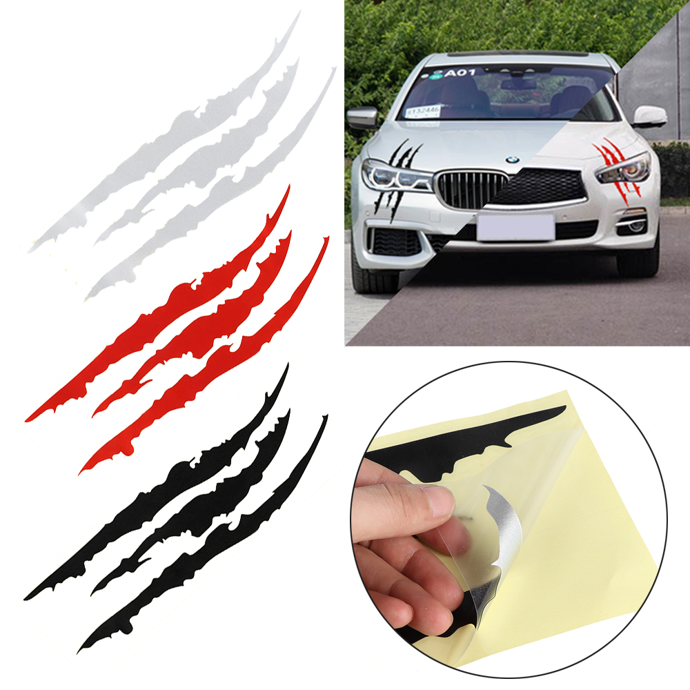 4012cm headlight scratch stripe ghost claw monster marks sticker black white red decal truck car vinyl reflective new accessory