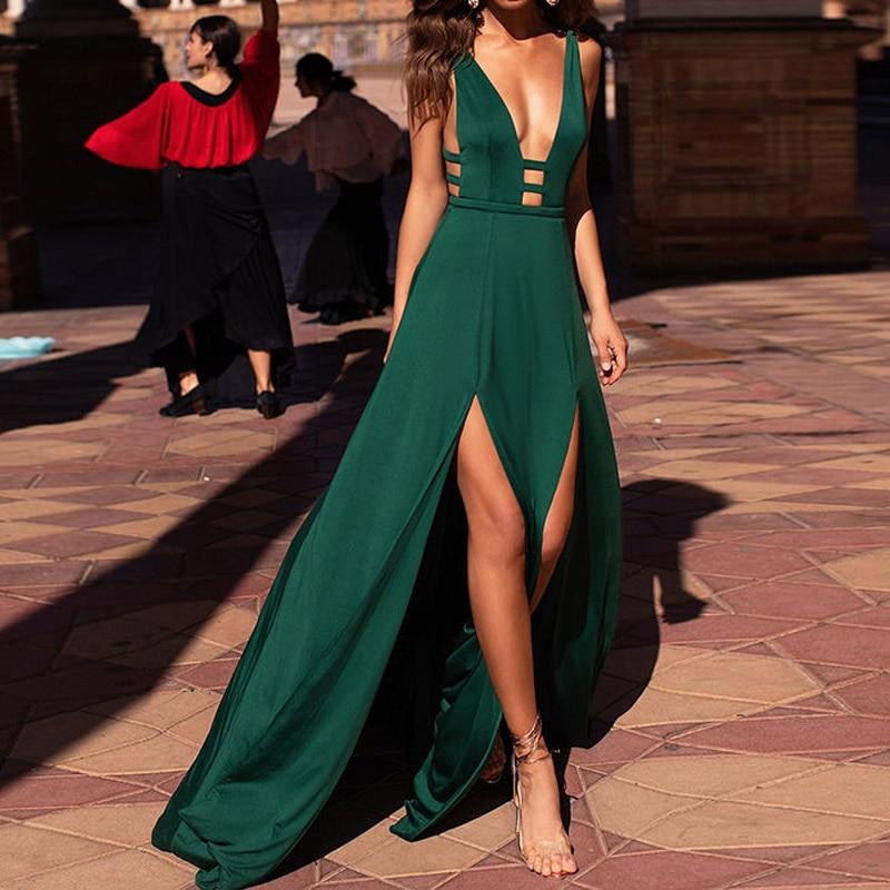 Elegant High Spilt Sexy Maxi Long Dress Women Summer Fit And Flare Backless Party Dress Beach Bohemian Dresses