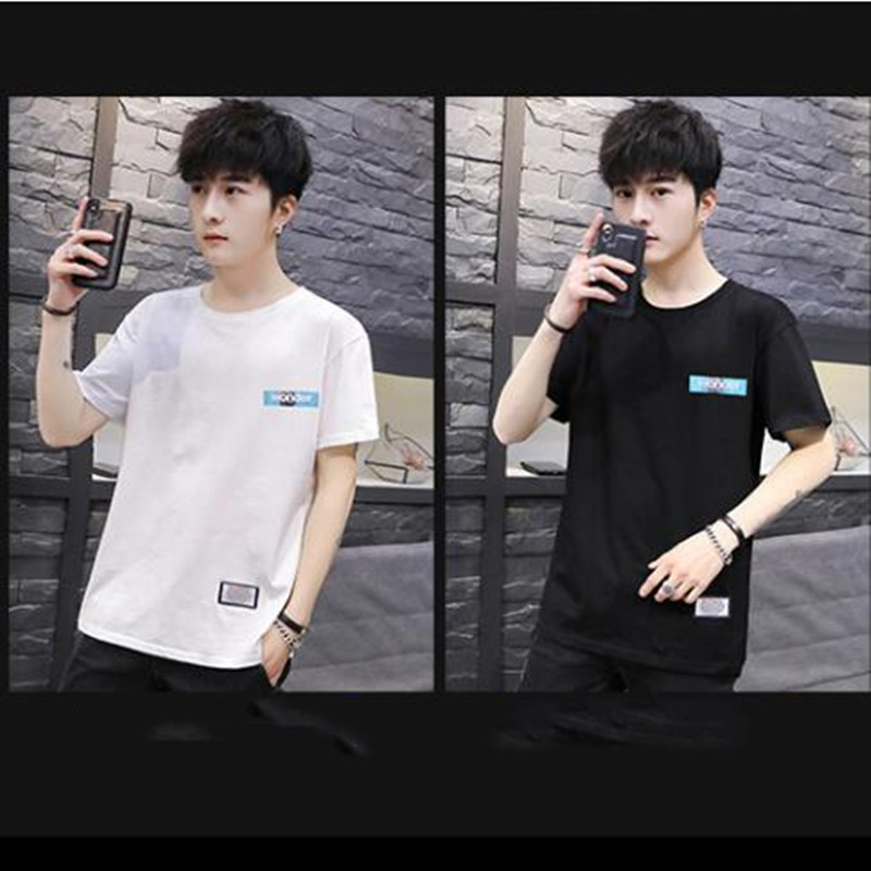T-Shirt Half-Sleeved New-Fashion Cotton White-Base Loose Man's Summer Student