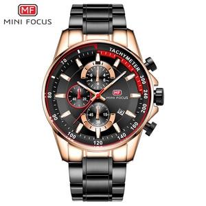 Image 3 - MINI FOCUS Mens Waterproof Business Watches Chronograph Quartz Luminous Wrist Watch for Man Stainless Steel Band Black MFS0218
