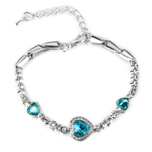 Hot Lady Crystal Rhinestone Bracelet for Women Sea Blue Bangle Chain Heart Fashion Jewelry Gift Top Quality Wholesale  WD82 недорого