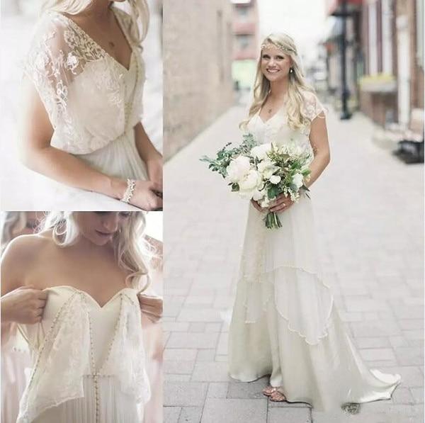 Boho Wedding Dresses 2019 Bohemian Chiffon Pearls Lace