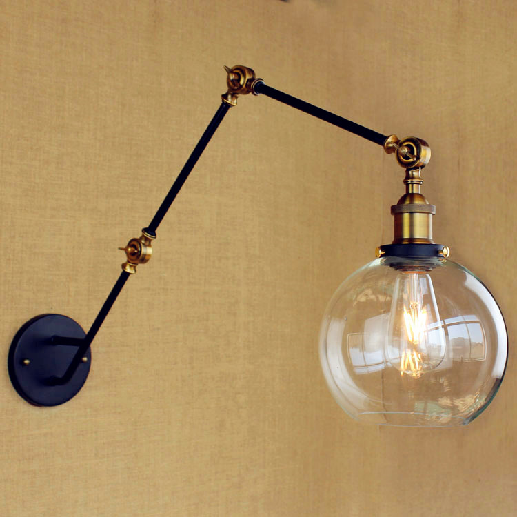 antique loft retro industrial wall lamp lamp vintage with adjustable swing long long arm. Black Bedroom Furniture Sets. Home Design Ideas