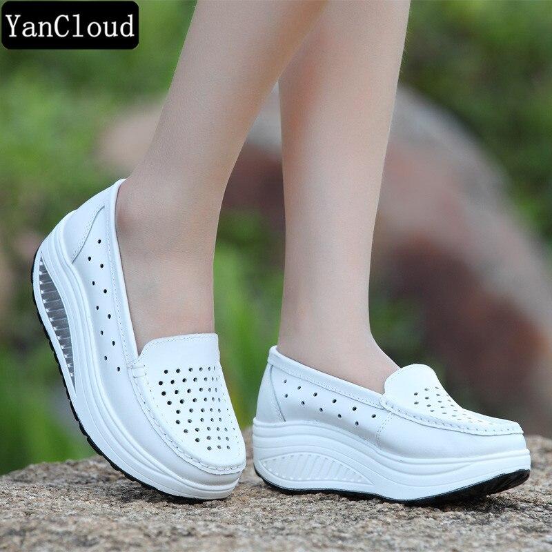 Zomer moeder schoen platform verpleegster schoenen vrouwen lederen - Damesschoenen