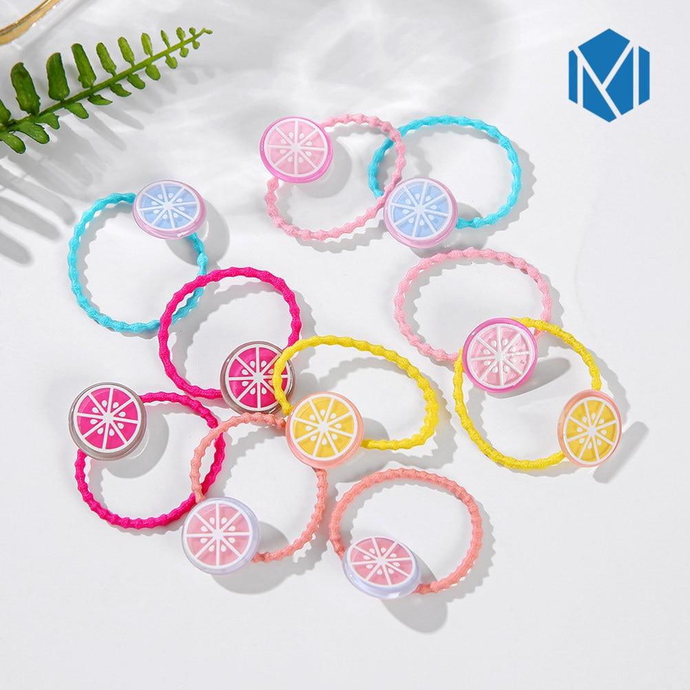 10pcs Colorful Summer Girls Hair Tie Elastic Bands Fruit Lemon Watermelon Strawberry Gum For Children Accessories