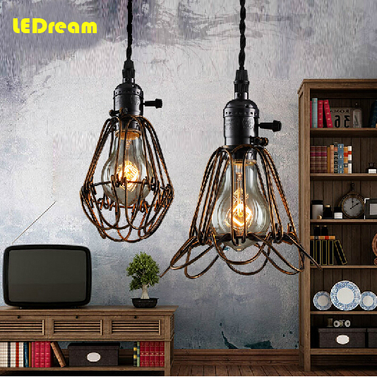 LED Light Restoring Ancient Ways Cages Droplight Loft Restaurant Bar Sitting Room Lamps And Lanterns