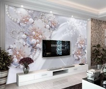 beibehang Custom wallpaper 3d photo wallpapers three - dimensional high-end fine jewelry flowers living room TV background wall