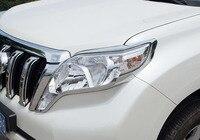 2pcs Abs For TOYOTA PRADO 2014 2016 Headlamp Cover Taillight Decorative Frame Sticker