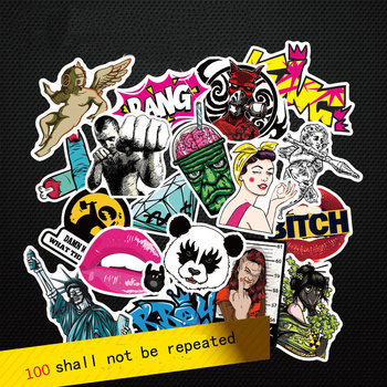 Fashion cool 50-100 pcs PVC stickers for Travel Suitcase Wall Pencil Box Bike Phone Sliding Plate of mixed graffiti Styling