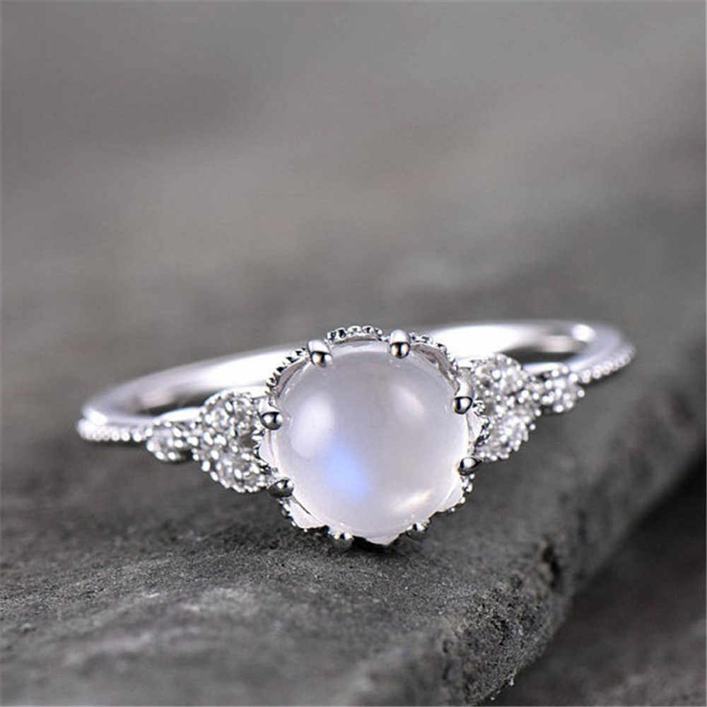 High Quality Moonstone Encrusted Ring Stylish Ring Engagement Ring Couples Rings Bijouterie ring Accessories*30 dropshipping