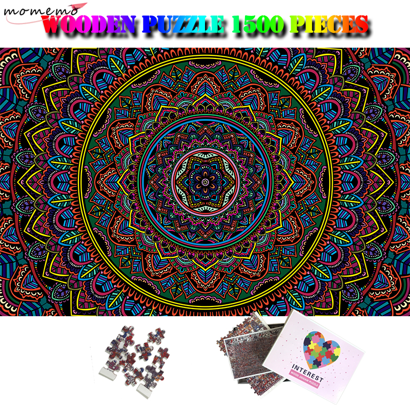 Blooming Mandala <font><b>Jigsaw</b></font> <font><b>Puzzle</b></font> <font><b>1500</b></font> <font><b>Pieces</b></font> Wooden <font><b>Puzzle</b></font> Toys Difficult <font><b>1500</b></font> <font><b>Piece</b></font> <font><b>Puzzles</b></font> for Adults Kids Teens Gift Home Decor image