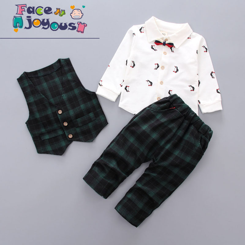3pcs Baby Boys Clothing Sets Gentleman Penguin Printed Shirt + Vest + Plaid Pant Toddler Kids Clothes Wedding Formal Suits baby boy clothes suits vest plaid shirt pants 3pcs set party formal gentleman wedding long sleeve kid clothing set free shipping