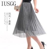 IUSGG 2019 Metal Color Silk Skirt Retro Fashion Metal Bright Silk Skirt Women Pleated Midi Skirt Big Swing Pleated Skirt