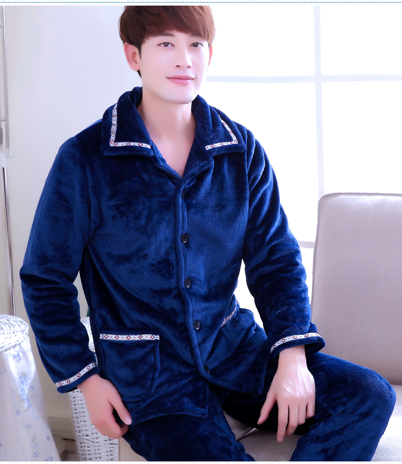 Adult 2pcs Coral Fleece Pajamas Men's Thickened Flannel Warm Homewear Large Size Coral Fleece Sleepwear Long Sleeve D-2079