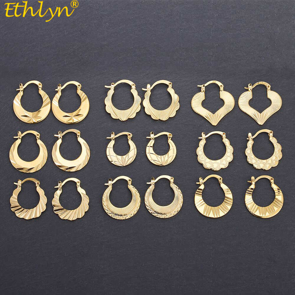 Ethlyn Ethiopian /African Cute Earrings for Girls/Kids /Ladies Gold Color Jewelry Small Earring Gifts E102