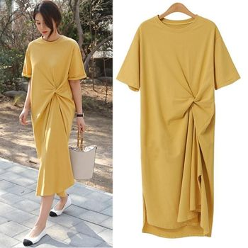 2020 summer new cotton retro round neck A-line dress loose casual dress large size wrinkled long over-the-knee t-shirt dress brown v neck long sleeves loose plunge t shirt dress