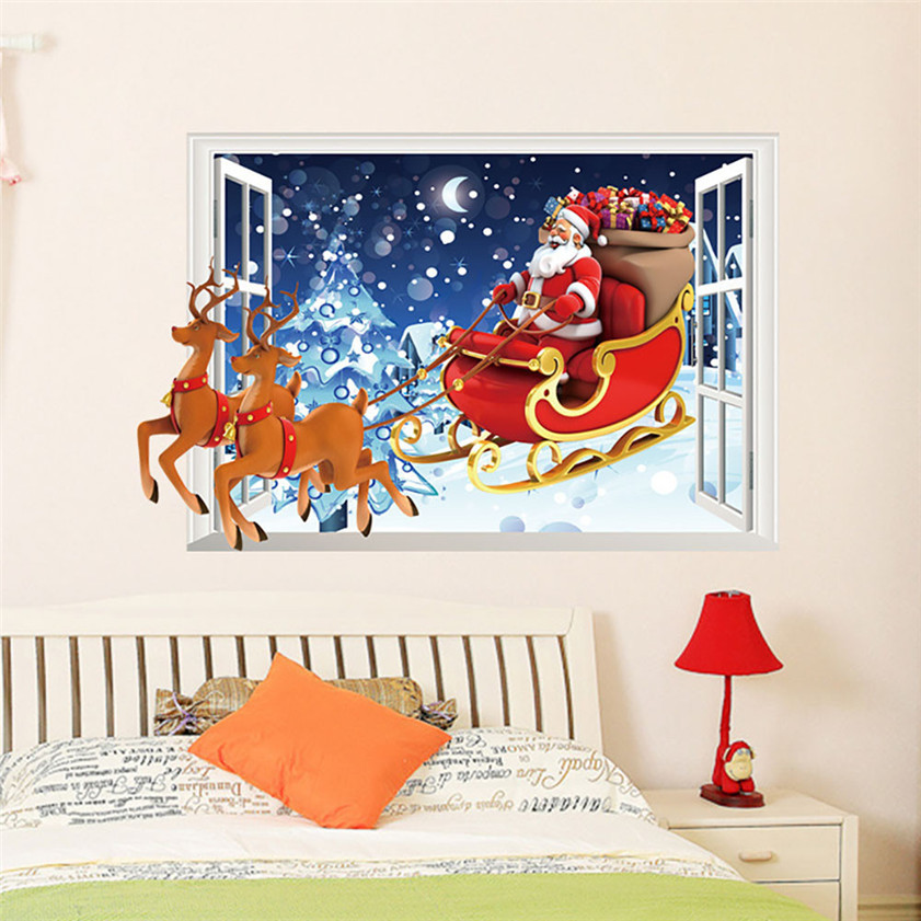 Wallpaper Sticker Christmas Bells Removable Wall Sticker Adornment Wall Glass Window Decoration Wallpapers For Living Room B#