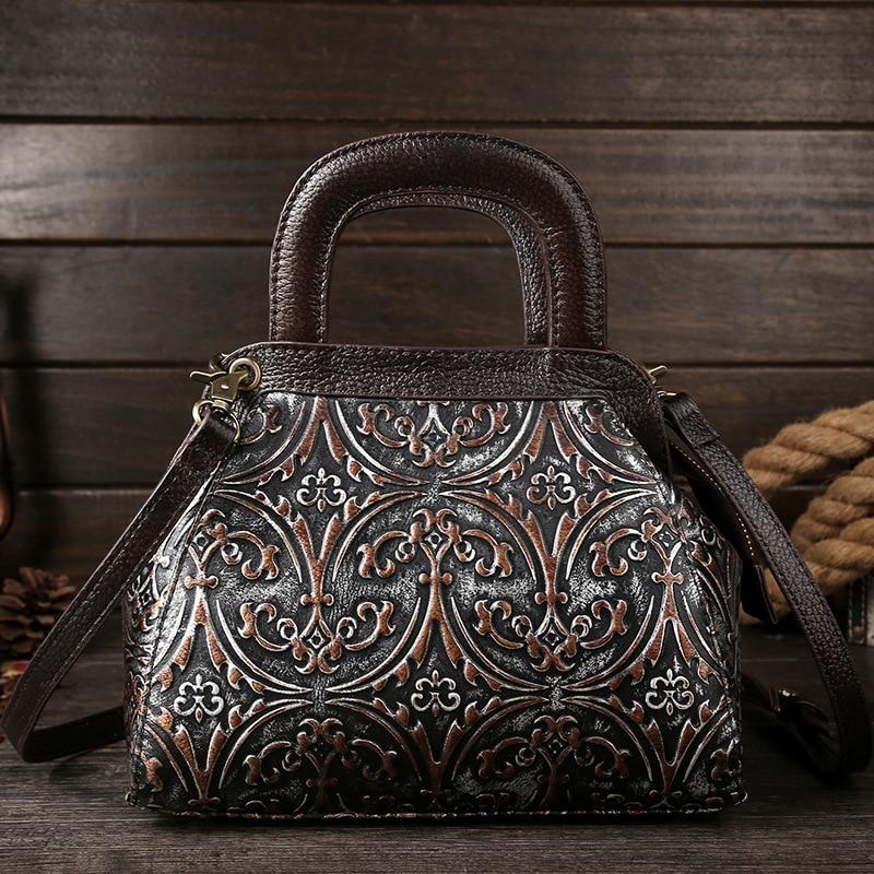 The New Retro Leather Handbag Baotou cowhide single shoulder bag brush color embossed craft fashion handbags