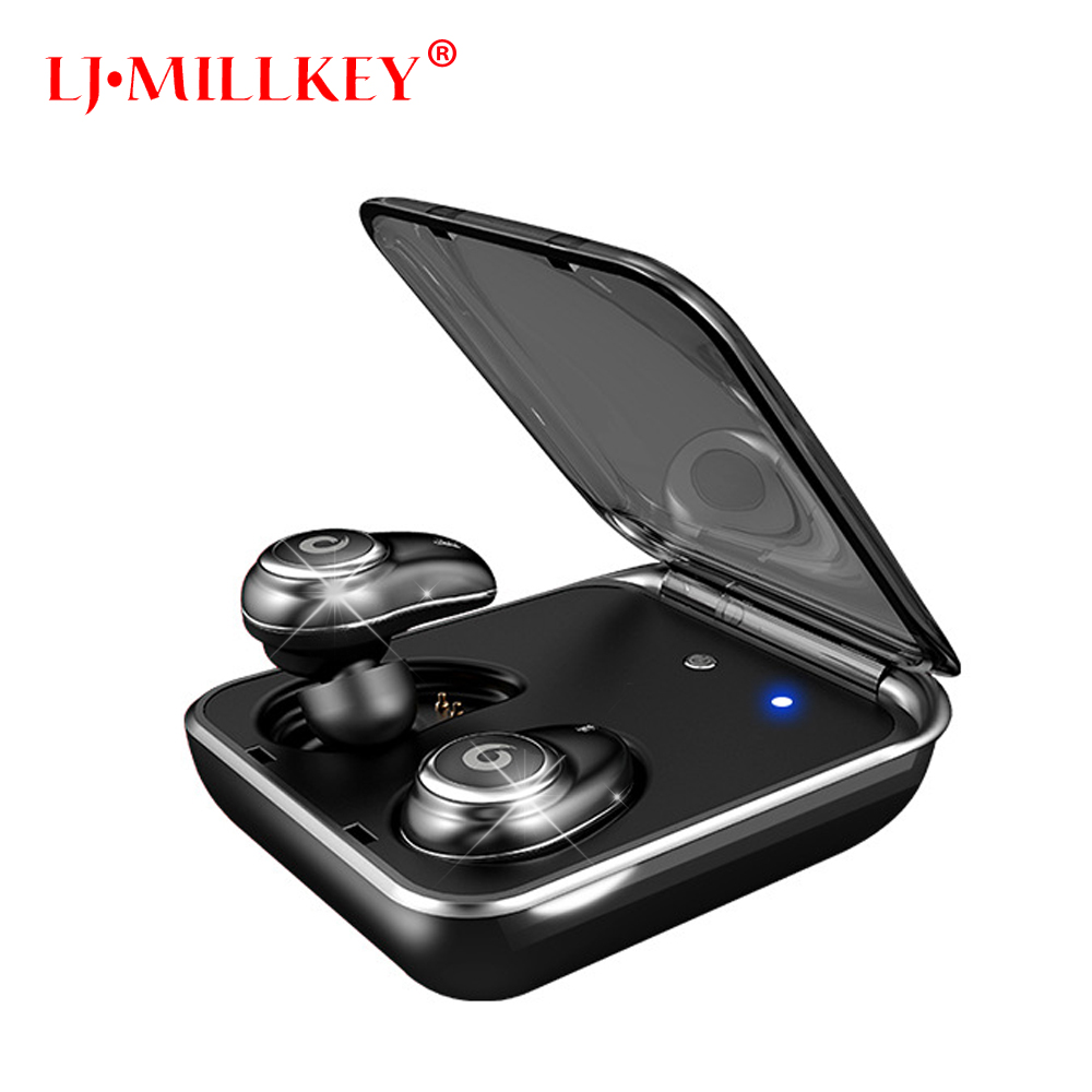 Newest Twins True Wireless Earbuds Mini Bluetooth In-Ear Stereo TWS Wireless Earphones With Charging Case LJ-MILLKEY YZ148 leegoal mini twins true wireless stereo bluetooth in ear earphone tws earbuds with mic charging box for iphone7 android phone
